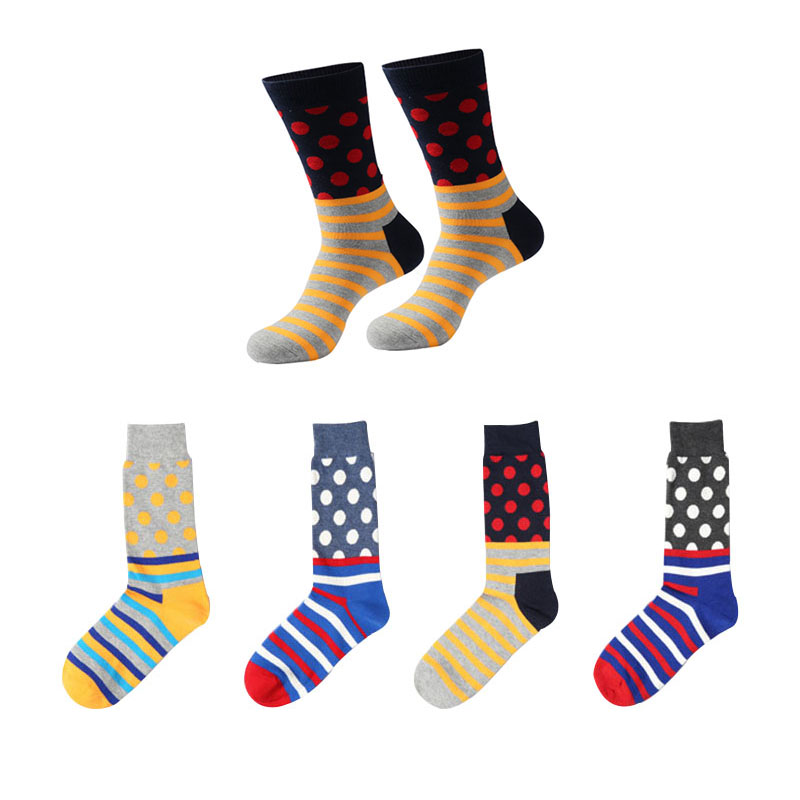 6pairs=12pcs Men Happy Short Socks Man Personality Dots Hit Color Funny Socks Meias Spring Winter Comfortable Cotton Adult Sock