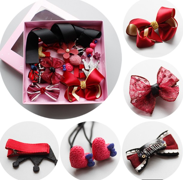 Balleen Shiny Fashion 17 Pcs/lot Headwear Set Baby Girls Bowknot Hair Clip Princess Head ...