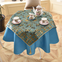 6 Colors 2 pcs/set Square + Round Luxury Jacquard Sequin Tablecloth for Table Banquet Wedding Red Table Linen Party Table Cloth