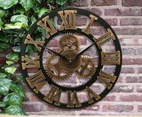 021084 Handmade Oversized 3D retro rustic decorative luxury art big gear wooden vintage large wall clock on the wall for gift