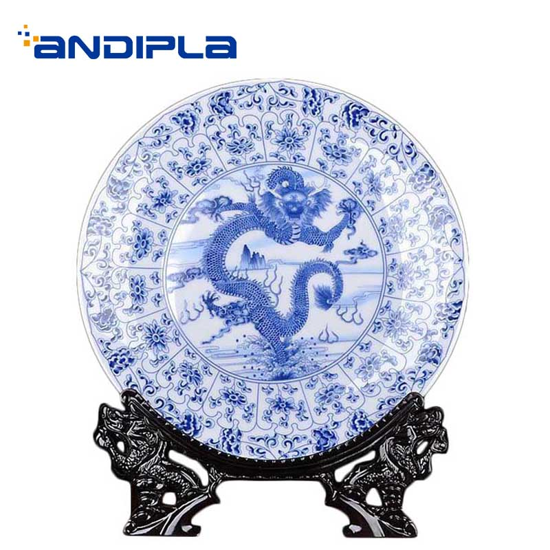 Jingdezhen Ceramics Decoration Plate with Resin Shelf Kit / Dragon Blue and White Plate Dish Home Wine Cabinet Ornaments Crafts|Bowls & Plates| |  - title=