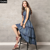 TANG 2019 New Arrivel Spring Pink Ruffles Midi Dress Office Lady O Neck Dress Slim High Waist Half Sleeve Dress