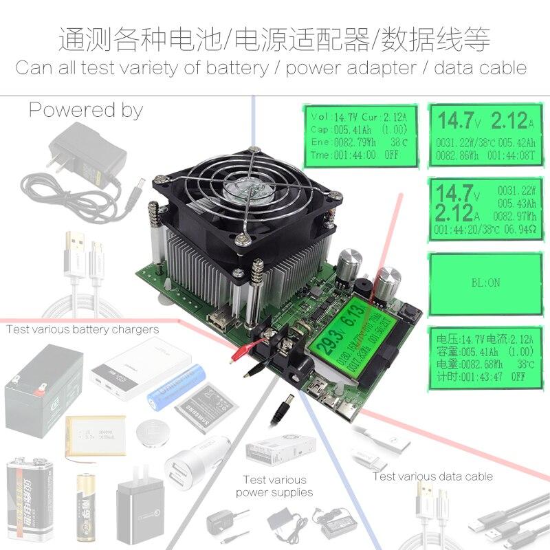 180 Вт регулируемый постоянный ток электронная нагрузка 18650 батарея разряда ёмкость метр тестер 12V24V48V свинцово-кислотная литиевая 20A