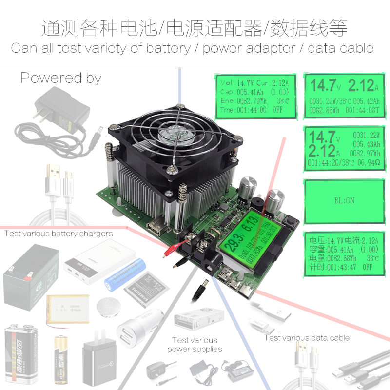 180W adjustable Constant Current Electronic Load 18650 Battery Discharge capacity tester meter 12V24V48V Lead-acid lithium 20A 18650 li ion lithium battery capacity tester 1 2v 12v resistance lead acid battery capacity meter discharge tester