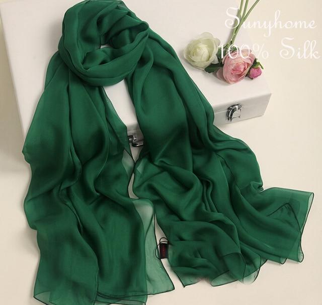 c7cd3de4c3aa 100% Pure soie châles et foulards vert foncé véritable musulmane Jersey Hijab  marque echarpe femme