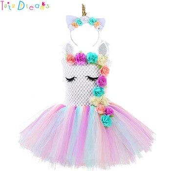 Fluffy Bustle Girl Unicorn Tutu Dress wi...