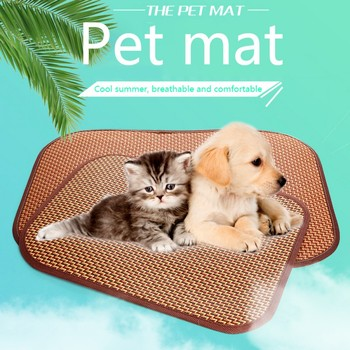 Pet Rattan Summer Cooling Mats Blanket Dog Self Cooling Pad Car Seat Mat Pet Cooling Non Sticking Eco-friendly Sleeping Blanket image