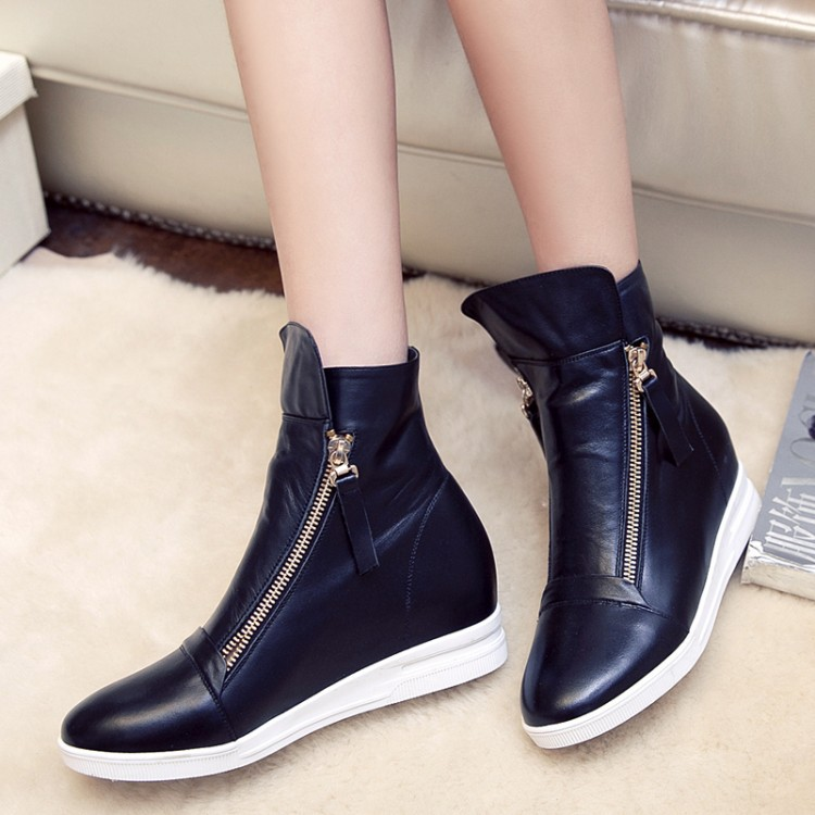 Women Autumn Winter Genuine Leather Height Increase Elevator Side Zipper Round Toe Fashion Ankle Boots Size 34-39 SXQ0826 women autumn winter genuine leather thick mid heel side zipper round toe 2015 new fashion ankle boots size 34 39 sxq0905