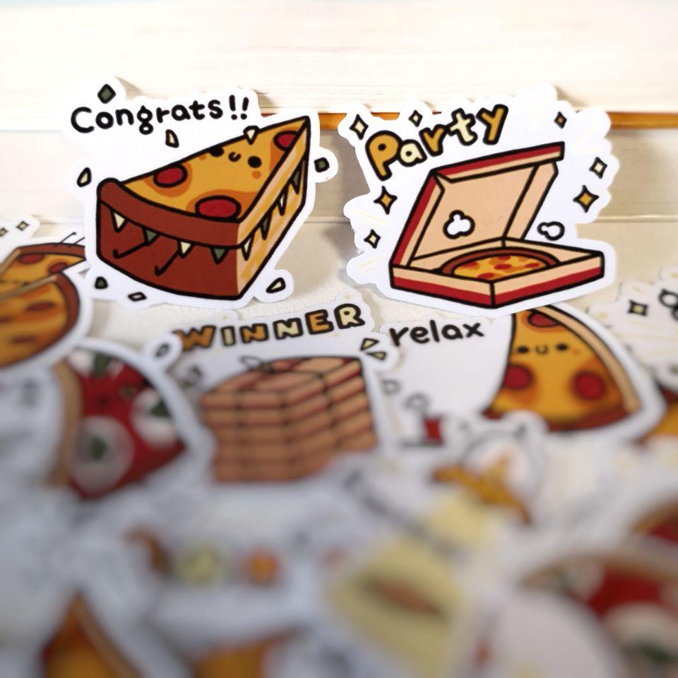 20/40pcs Funny Pretty Cute Pizza Cartoon Sticker Notebook Skateboard Bike DIY Waterproof Sticker
