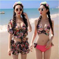 2017 Mùa Hè Váy Đẩy Lên Bộ Bikini Set Floral Bìa Ups bốn mảnh Phù Hợp Với Beachwear swimsuit tắm phù hợp với cho phụ nữ cô gái đồ bơi