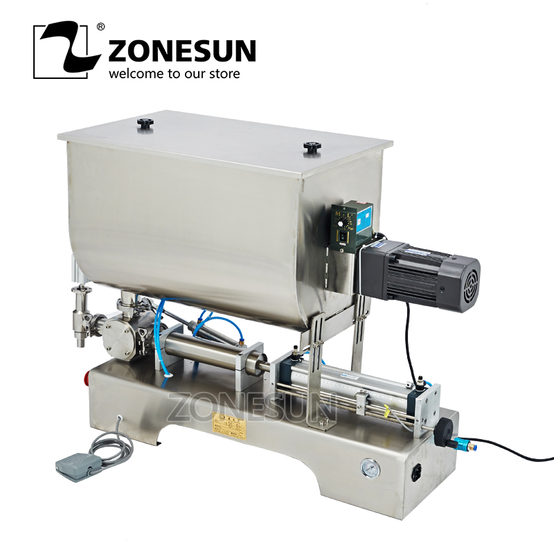 ZONESUN  Chili sauce filling machine,sauce quantitative Filler Machinery,Pneumatic slurry mixing Filling machine applicatori di etichette manuali