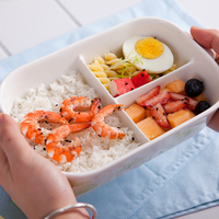 3 Grids Ceramic Lunch Box Fruit Bowl Rice Vegetables Food Container with Lid and Spoon