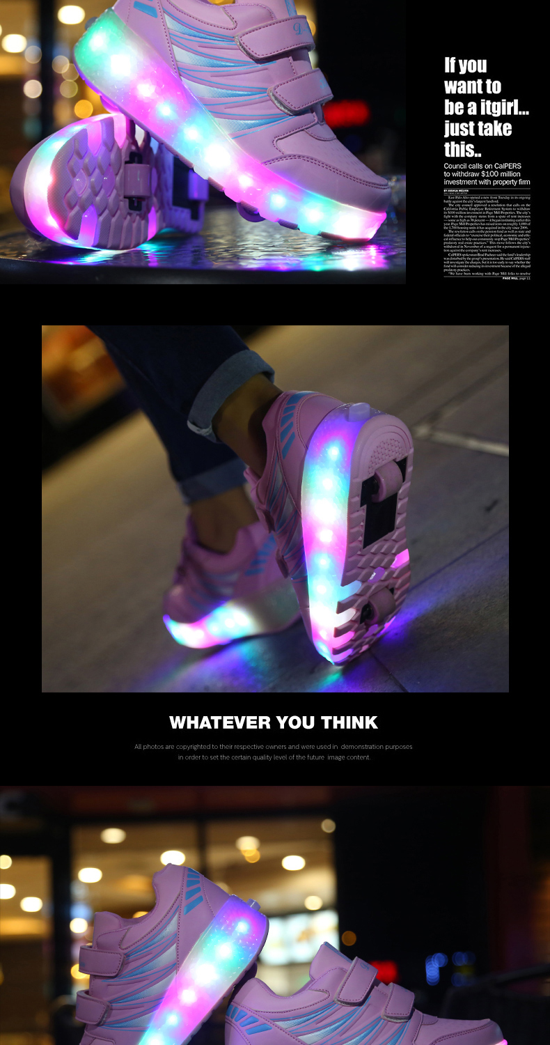 2017 Child Girls Boys Roller Skate Shoes LED Light Black Pink Children Glowing Sneakers With Wheels For Kids tenis de rodinha1