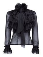 New Women Fashion High Neck Bow Tie Front Layered Ruffle Sheer Blouse