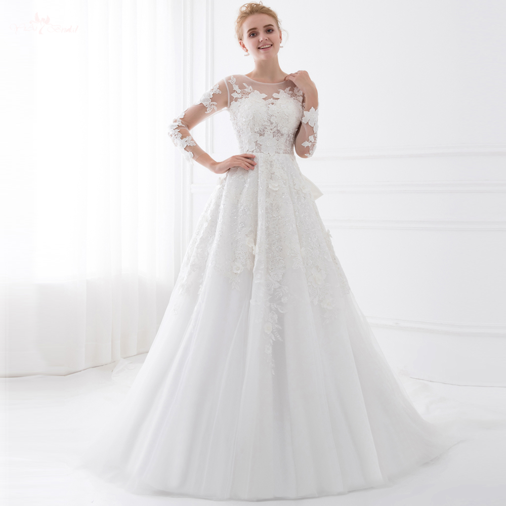 Long Sleeve Lace Wedding Dresses: TW0207 Special Train See Through Vintage Lace Long Sleeve