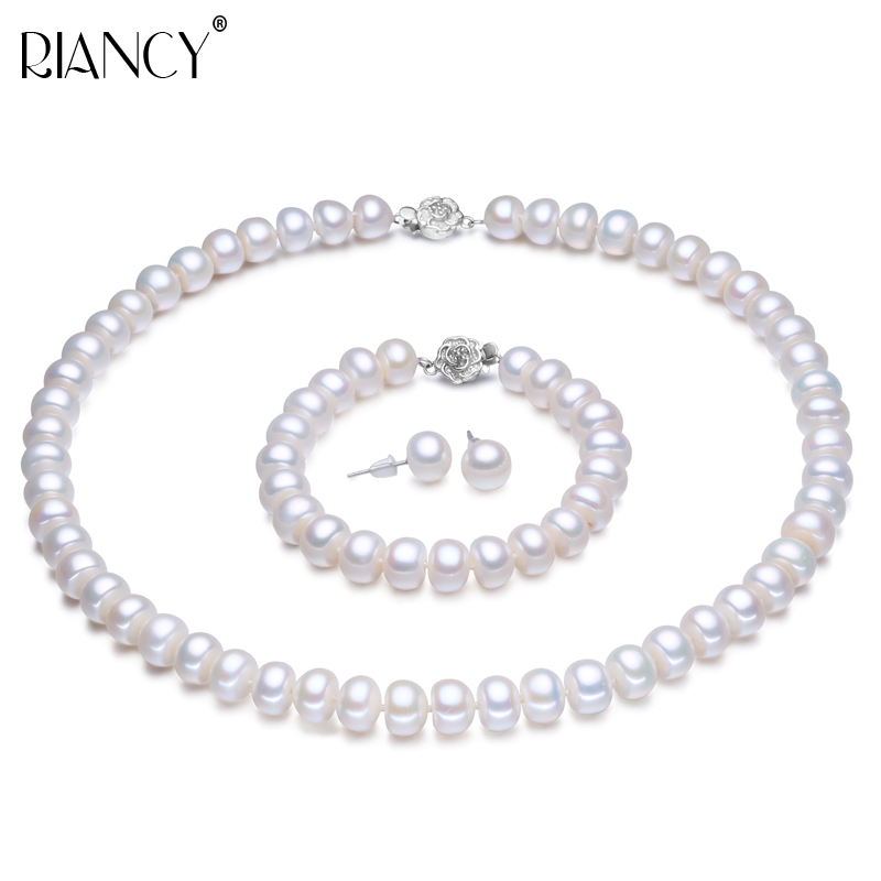 Pearl Jewelry Sets Real Genuine Natural Freshwater Jewelry Pearl Necklace Earring Bracelet For Women 925 sterling silver GiftPearl Jewelry Sets Real Genuine Natural Freshwater Jewelry Pearl Necklace Earring Bracelet For Women 925 sterling silver Gift