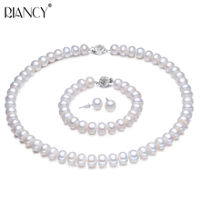 Pearl Jewelry Sets Real Genuine Natural Freshwater Jewelry Pearl Necklace Earring Bracelet For Women 925 sterling silver Gift keshi women gift word love real genuine 10 11mm white pearl necklace bracelet earring sets choker