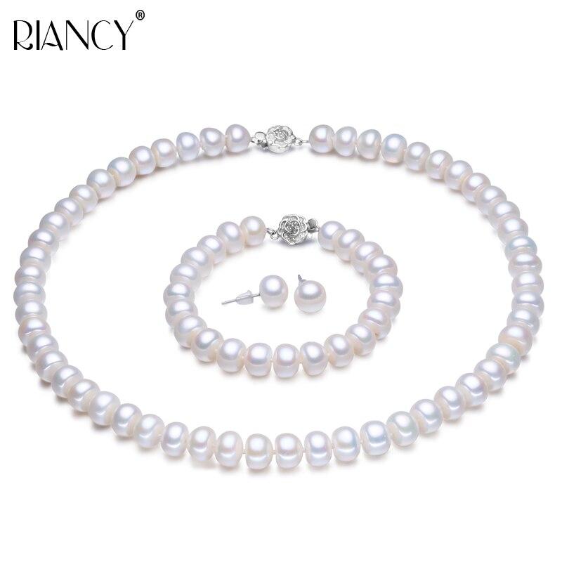 Perle bijoux ensembles réel véritable naturel eau douce bijoux perle collier boucle d'oreille Bracelet pour les femmes 925 en argent sterling cadeau