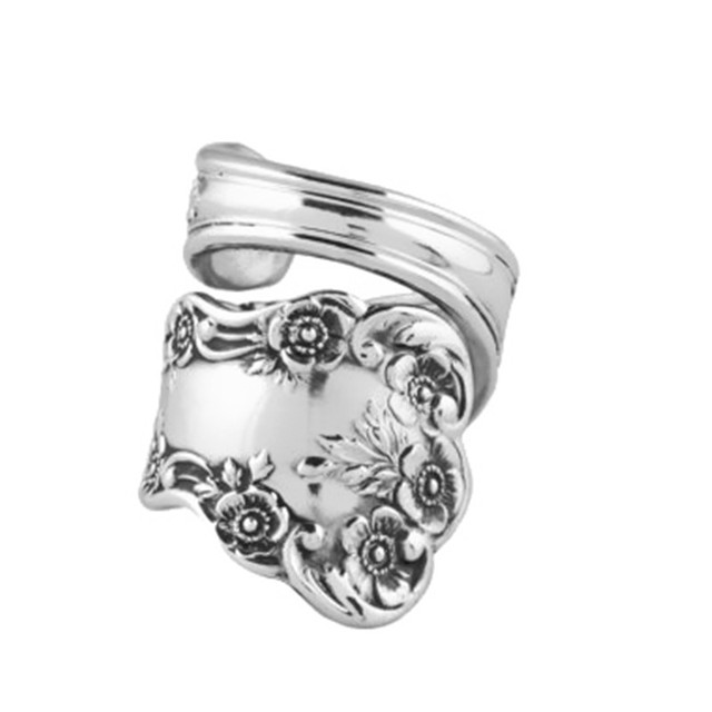 Drop Shipping Spoon Ring Buttercup Antique Silver Plated Handmade