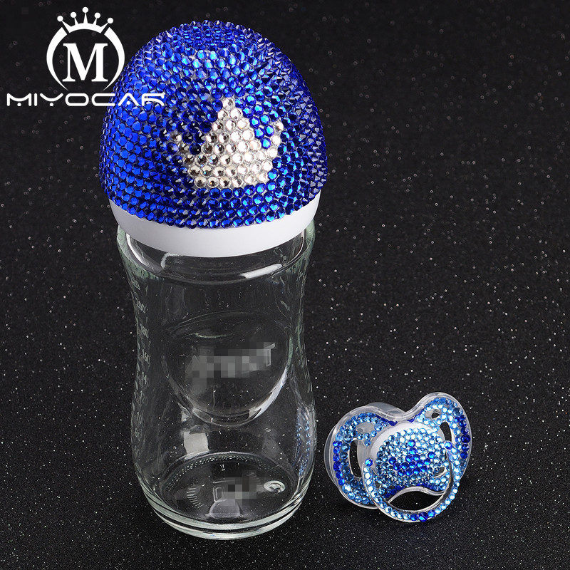 MIYOCAR Bling Bling Lovely Blue And White Crown 240ml Glass Feeding Bottle And Bling Bling Crown Pacifier For Baby Shower Gift