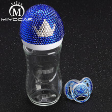 Купить с кэшбэком MIYOCAR Bling Bling lovely blue and white crown 240ml glass Feeding Bottle and bling bling crown pacifier for baby shower gift