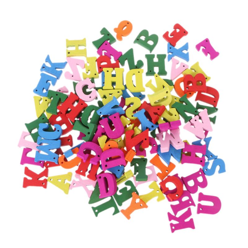 100pcs Carft DIY Decoration Word Kid Education Toy Wooden Letter Alphabet