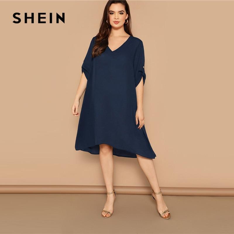 SHEIN плюс размер темно-синее платье-туника с отворачивающимся рукавом с глубоким подолом 2019 женские весенне-летние повседневные Прямые Плат...
