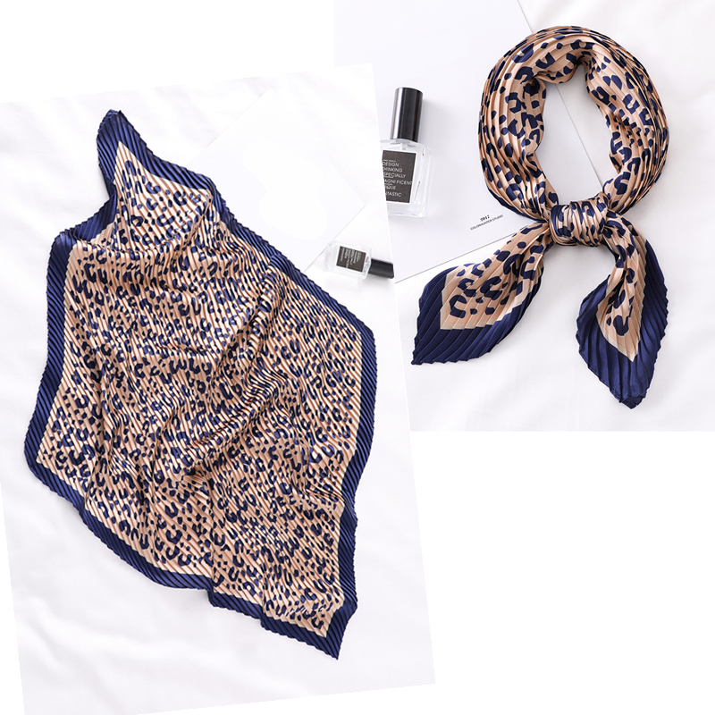 Women Pleated Square Scarf Leopard Print Female Silk Neck Scarfs Small Crinkle Scarves Foulard 2020 New