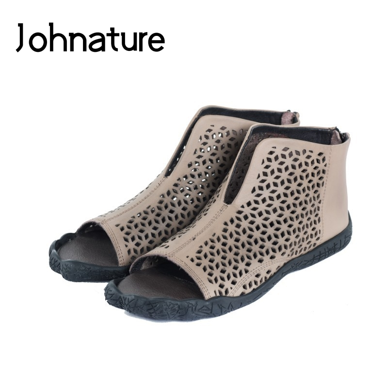 Johnature 2019 New Summer Genuine Leather Casual Retro Sewing Cover Heel Zipper Round Toe Flat With