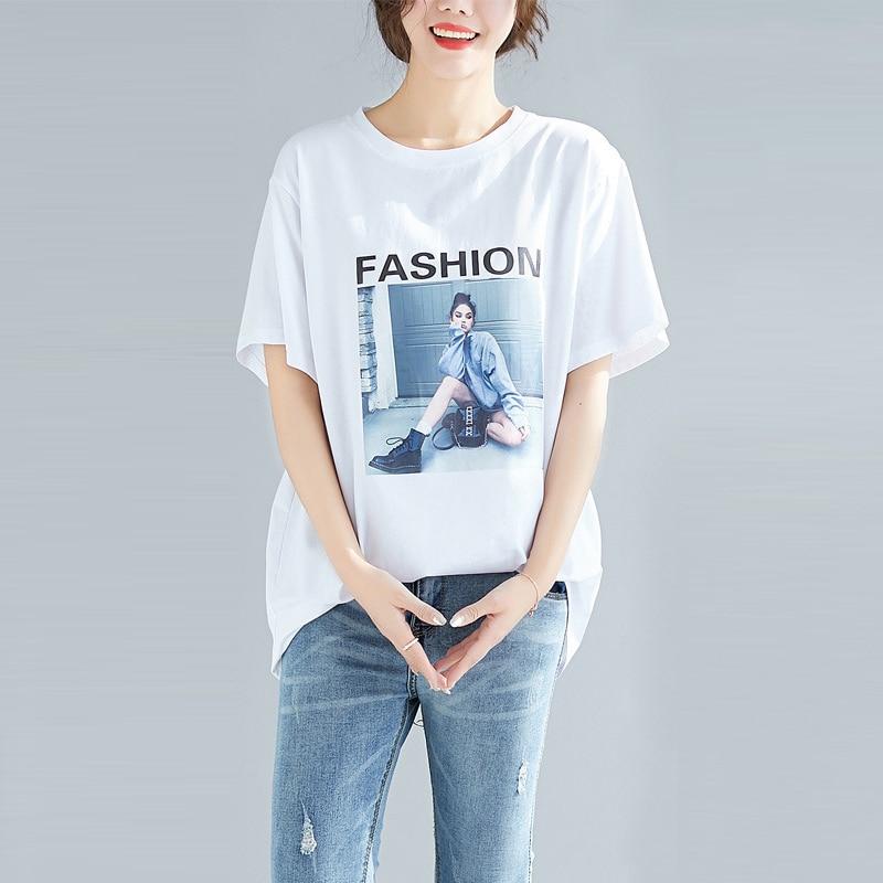 2019 Fashion Cool Print Female T-shirt White Cotton Oversized Women Tshirts Summer Casual Harajuku T Shirt Plus Size 5XL Top