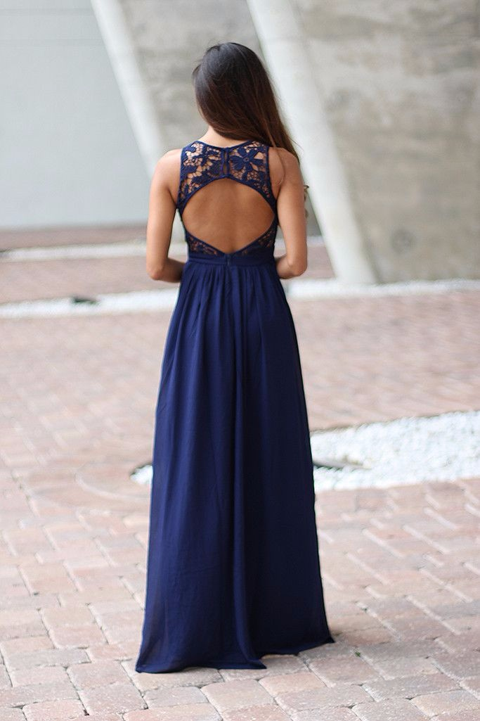 Elegant Navy Blue Crochet Maxi Bridesmaid Dress With Open Back 3