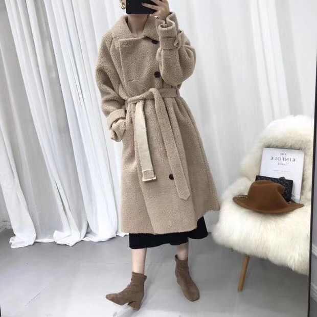 Женская Шуба с длинным рукавом и поясом, шуба из овчины, зимняя меховая верхняя одежда, подкладка из искусственной замши, ff07