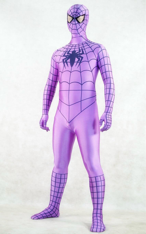 Фиолетовый лайкра/купальник из спандекса Человек-паук Питер Бенджамин Паркер костюм - Цвет: purple