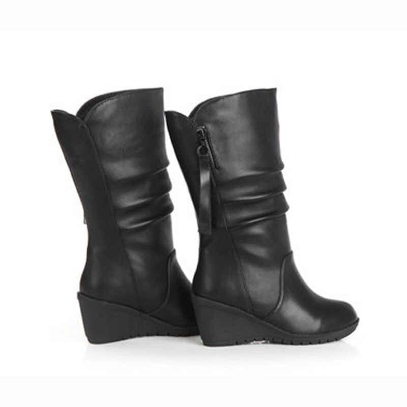 Kışlık Botlar 2019 Kadın Çizmeler Kama Orta Buzağı çizmeler kadın ayakkabıları Siyah Moda anne ayakkabısı Deri Çizmeler Yuvarlak Ayak Bayanlar Ayakkabı