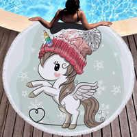 Toalla de playa redonda de microfibra de círculo grueso con estampado de unicornio, toallas de baño de verano, manta de Yoga, toalla de playa redonda