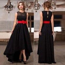 Borgoña Largo Hola Bajo Vestido Formal Negro Stain Tobillo-longitud Vestidos de Fiesta de Graduación Vestido de Botones Para Mujer Vestidos de Noche