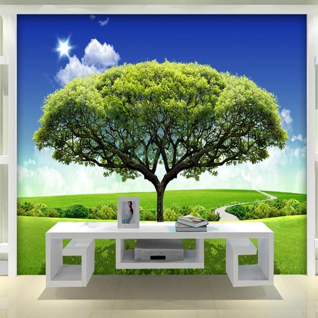 custom 3d foto muurschildering behang slaapkamer ontwerpen 3d grote hd muurschildering grasland groene bomen studeerkamer achtergrond