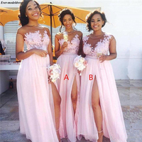 Pink Beach Bridesmaid Dresses Long 2019 Sexy A Line Side Split Sheer O Neck Appliques Gorgeous Wedding Guest Party Dreses Cheap