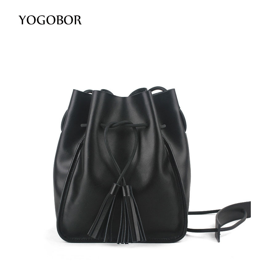 YOGOBOR Retro Tassel Bucket Bag Women Messenger Bags Sling Shoulder Bag String Casual Leather Fashion Designer Female Handbag string sling pack