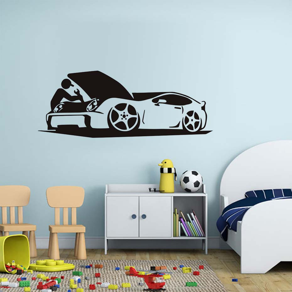 Back To Search Resultshome & Garden Auto Car Repair Shop Traffic Decal Vinyl Wall Sticker Wall Art Removable Wallpaper Living Room Bedroom Decals Home Decor Jd1779 Terrific Value Wall Stickers