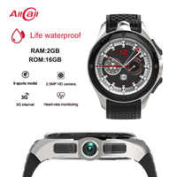 Allcall W2S 2GB RAM 16GB ROM MTK6580 Quad-core 2MP Camera Heart Rate Monitor WIFI BT4.0 GPS Life Waterproof 3G Smart Watch Phone