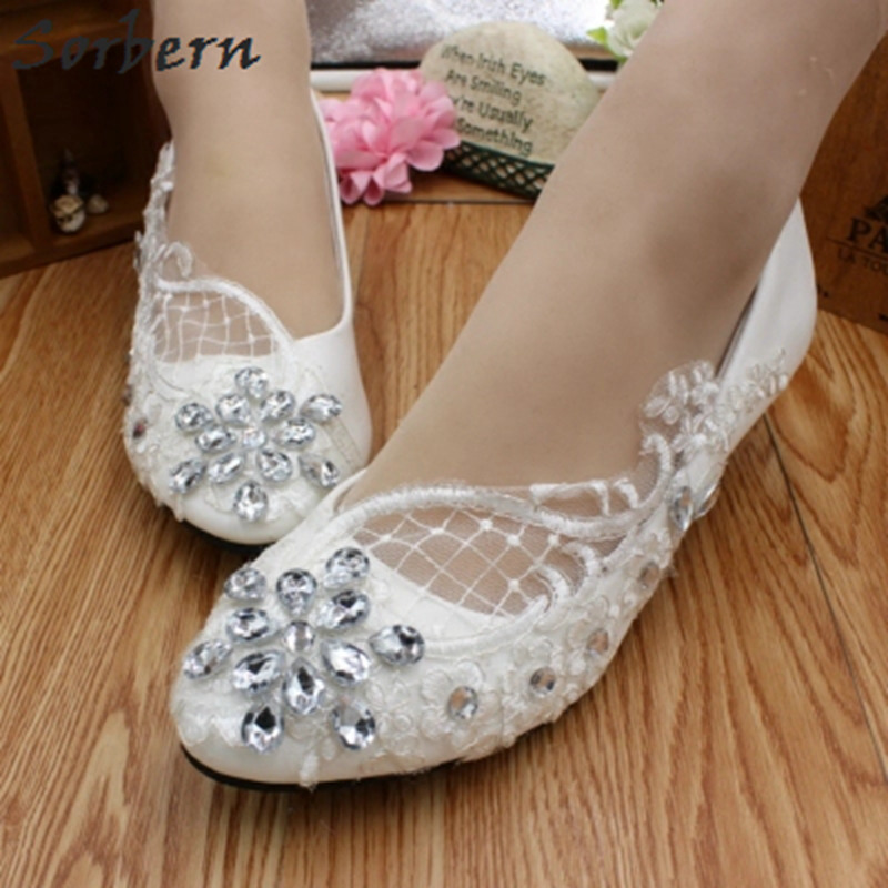 Sorbern Shiny Crystal Lace Flat Wedding Shoes Pointy Toe