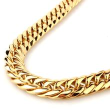 Granny Chic 7''-40'' Wide 13/16mm Gold Top Quality Stainless Steel Men Cuban Link Chain Curb Necklace Fashion Gifts chic wide link rhinestone flower necklace for women