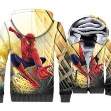 Spider Man Jacket Men 3D Print Hoodie Super Hero Hooded Sweatshirt 2018 New Winter Thick Fleece Warm Zip up Coat Plus Size 5XL цена и фото