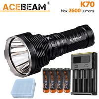ACEBEAM K70 Handheld Flashlight CREE XHP35 LED max 2600 lumens outdoor torch for search rescue + 4*3100mAh battery + Nitecore I4