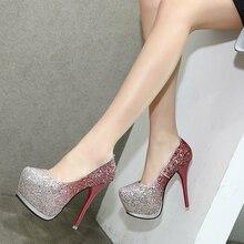 Женская обувь на высоких каблуках glittler обувь пятки платформы сексуальная насосы партия обуви для женщин красный насосы свадебная обувь размер 34-40 X422