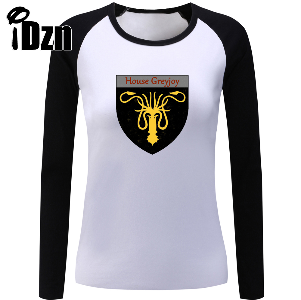 iDzn Casual Women T shirt Game of Thrones Gold Sea Monsters House Greyjoy of Pyke We Do Not Sow Female Long Sleeve T-shirts Tops