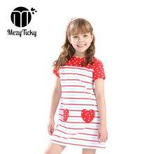 Summer Baby Girls Dress Fashion LOVE Printed Party Princess Children Striped SplicingDresses Kids Short Sleeve Dot Clothes