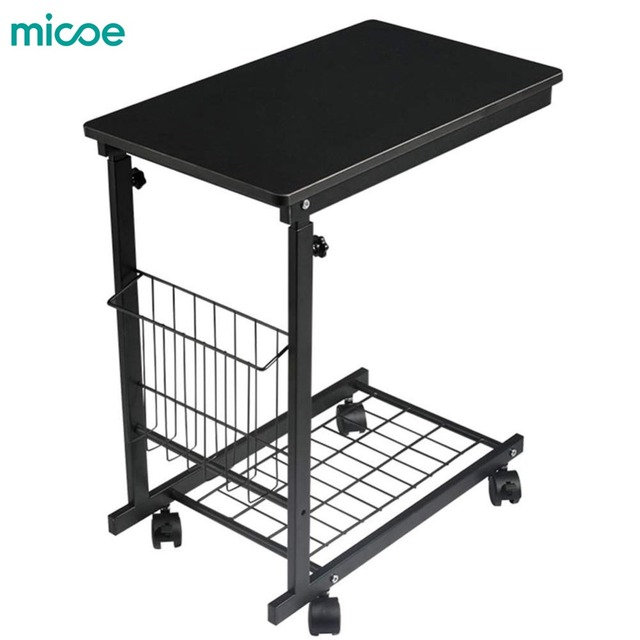 Micoe Height Adjule With Wheels Sofa Side Table Slide Under Console Storage Black