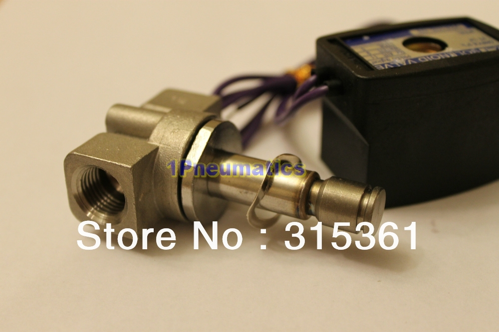 Free Shipping 1/4 Stainless Steel Solenoid Valve Air Gas Diesel B20N VITON 12VDC DC24V AC110V or AC220V Option VX2120 08